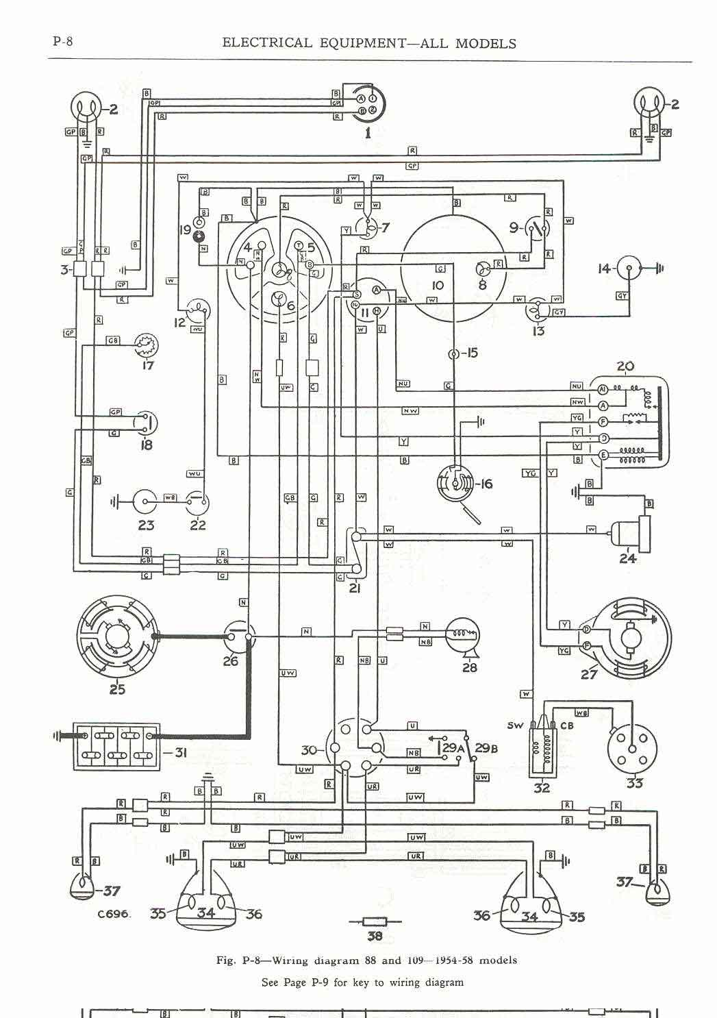 """Wiring Diagram, 88"" and 109"" - 1954-58 models"""